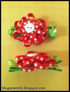 Semi homemade small flower hair clip. Tutorial @ blogamentals.blogspot.com