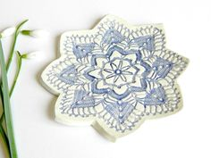 Lace Ceramic Plate Ombre Blue Pottery Flower Dish Ring Holder by Ceraminic on Etsy https://www.etsy.com/listing/124235980/lace-ceramic-plate-ombre-blue-pottery