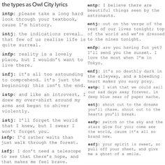 MBTI as Owl City Lyrics