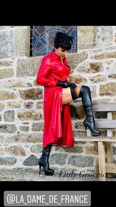 Lady Georgia Red Leather, Leather Jacket, Mistress, High Boots, Georgia, Sexy, Jackets, Fashion, Knee High Boots