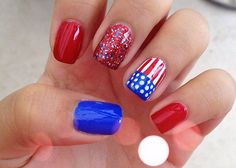 Top 18 Holiday Nail Designs For July – New Famous Patriot Fashion Manicure - Homemade Ideas Holiday Nail Designs, Holiday Nails, Nail Art Designs, Holiday Ideas, Fancy Nails, Love Nails, Pretty Nails, Do It Yourself Nails, Usa Nails