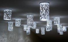 Ceiling LED lamp made of hand blown glass. Hotel LOWE, Piešťany, Slovakia.
