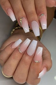 Acrylic Nail Designs Coffin, French Tip Acrylic Nails, Acrylic Nails Coffin Short, White Acrylic Nails, Best Acrylic Nails, White French Nails, Ombre French Nails, French Tip With Glitter, Glitter French Nails