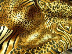 Satin Charmeuse Cheetah & Tiger Mixed Animal Print Table Runner. 13 X 90 100% Polyester . $6.25