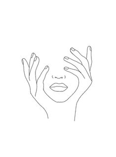 Minimal Line Art Woman with Hands on Face Mini Art Print by Nadja - Without Stan. - Minimal Line Art Woman with Hands on Face Mini Art Print by Nadja – Without Stand – x - Art Abstrait Ligne, Dog Line Art, Hands On Face, Two Hands, Minimal Art, Minimal Drawings, Line Art Flowers, Art Minimaliste, Art Visage