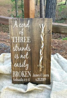 A Cord of Three Strands Wood Sign in Walnut by JLCustomDesigns1