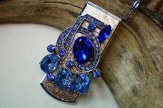 Blue rhinestone art deco money clip necklace by OutsiderArtJewelry