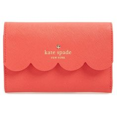 kate spade new york 'lily avenue - kieran' wallet, GERANIUM/ BRIGHT... ($84) ❤ liked on Polyvore featuring bags, wallets, purses, leather credit card holder wallet, genuine leather wallet, kate spade, snap wallet and leather pocket wallet