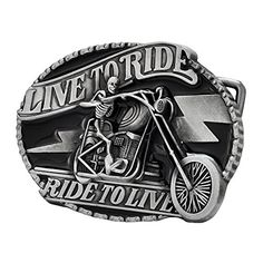 a6055c3ba517 Buckle Rage Adult Mens Live To Ride Skull Biker Motorcycle Belt Buckle  Black http