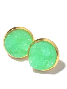 Druzy Studs- Mint Drusy studs, bridesmaid earrings, silver or gold- Bridesmaid jewelry 12mm DBKL106