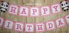 panda birthday banner by Sunshineanddaisy on Etsy Panda Themed Party, Panda Party, Panda Birthday, Happy Birthday, Birthday Cake, Party Themes, Diana, Color Schemes, Hot Pink