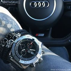 Fan Instagram Pic !   @aroncowlestattoo shows us his Northskull style with 2 different colorways of our Nappa Leather Twin Skull Bracelets alongside his Black Dial Breitling Avenger II Watch. Impressive !   What's your favourite color? Available now at Northskull.com   For a chance to get featured post a cool photo of your Northskull jewelry with the tag #Northskullfanpic on Instagram