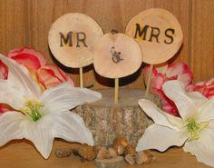 Rustic Wedding Cake Topper / Tree Slice Cake Topper / Mrs & Mrs/ FREE SHIPPING - pinned by pin4etsy.com