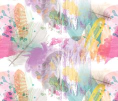 Painted Feather fabric by house_of_henry on Spoonflower - custom fabric