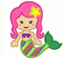 mermaid Applique Machine Embroidery Design NO:0029 on Etsy, $2.99