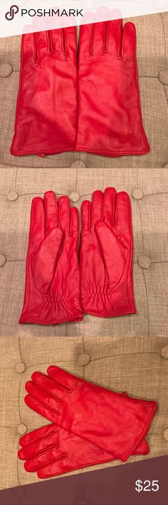 The Limited Brand Leather Gloves Gently used The Limited Brand Red Leather Gloves Size L/XL The Limited Accessories Gloves & Mittens