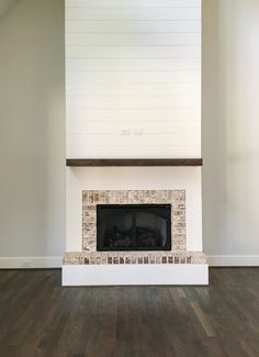 Create rustic elegance while adding a little safety to your fireplace with brick accent trim.