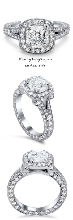 Unique Engagement Ring by BloomingBeautyRing.com  (213) 222-8868  #UniqueEngagementRing #WeddingRing