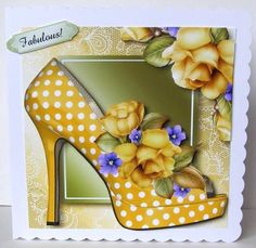 Spotty Yellow Shoe Roses Lacey Square on Craftsuprint designed by Anne Lever - made by Margaret McCartney - I printed the design onto good quality photographic paper and cut it out. I scored and folded an 8 x 8 scalloped edged card. I attached the design to the card using double sided tape. I assembled the decoupage using thin foam tape. I added the greeting using thin foam tape. - Now available for download!