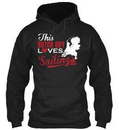 Dutch Guy Loves Sailing  Black Sweatshirt Front