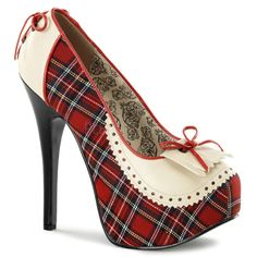 Pleaser Bordello Teeze 26 Red Tartan Court Shoes. Red plaid tartan court shoes with cream pu penny loafer fringe and coset lacing to back of shoes,5 3/4″ (14.6 cm) stiletto heels and 1 3/4″ (4.5 cm) concealed platforms