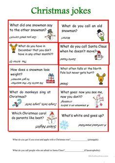 Christmas jokes worksheet - Free ESL printable worksheets made by teachers Christmas Jokes For Kids, Christmas Worksheets, Christmas Games, Christmas Riddles, Christmas Trivia, Christmas Christmas, Christmas Ornament, Jokes And Riddles, Some Jokes