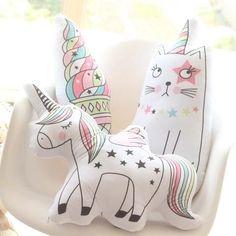 Unicorn Cat Seahorse Ice Cream Rainbow Pillow 23*55cm #UnicornPillow