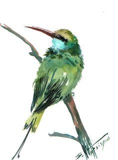 Green Bee eater original watercolor painting 12 X by ORIGINALONLY, $29.00