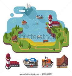 Isometric 3d near the sea landscape, rural, fishermen village with the lighthouse on the hill. Different boats, barn isolated. Flat vector stock illustration with isolated element.