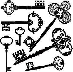 Fantastic selection of lovely black skeleton key printables. #keys #vintage #printables #free #downloadable #scrapbooking #crafts #card #card_making #paper_crafting #crafts