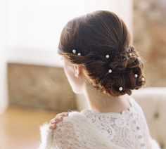 String of freshwater pearls wedding hair piece, style #1966 Miss Bennett on Etsy, $155.00