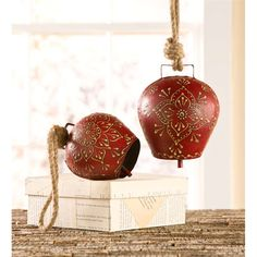 Small Hand-Painted Iron Red Bell in Indoor Holiday Decorations