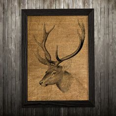 Stag print. Wildlife poster. Animal decor. Burlap print.  PLEASE NOTE: this is not actual burlap, this is an art print, the image is printed on art