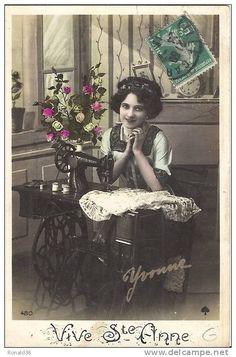 cp Vive SAINTE  ANNE COUTURIERE machine a coudre SINGER Yvonne adr pour ste Anne a mme LEENS 198 rue de paris LILLE 59