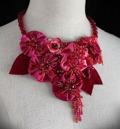 PINKS Pink Red Orange Floral Bib Necklace by carlafoxdesign, $195.00