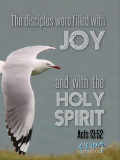 Acts 13:52 the disciples were filled with joy and with the Holy Spirit.