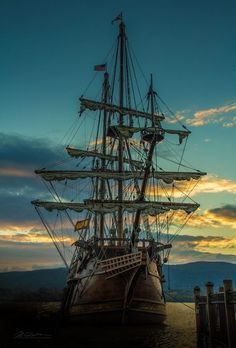 Thar be a proud beauty of a ship that can sail o'er silent misty waters. Arrgggh, If ye be brave, me hearties, we set sail tomorrow. photo J. Pirate Art, Pirate Life, Pirate Ships, Tall Ships, Moby Dick, Old Sailing Ships, Old Boats, Wooden Ship, Sail Away
