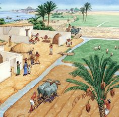 Mesopotamia Irrigation System Model | Ancient Mesopotamia Farming. This also might be what a farming village in the Akkadian Empire might look like.