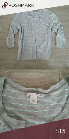 💙 3 DAYS LEFT! Halogen Cardigan Beautiful gray and light blue striped cardigan! Feel free to make an offer. 💕 Halogen Sweaters Cardigans