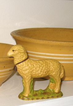 Yellowware Lamb hand crafted from an antique chocolate mold Antique Crocks, Antique Stoneware, Stoneware Crocks, Pottery Marks, Glazes For Pottery, Yellow Bowls, Halloween Chocolate, Pottery Techniques, Vintage Kitchenware