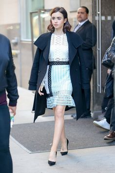 Lily Collins in Self-Portrait dress; Mackage coat; Christian Louboutin shoes via @WhoWhatWear