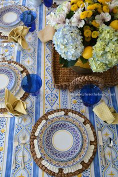 Madeline Dinnerware by Pfaltzgraff adds a bright and cheery note to the table with its palette of vivid blues & yellows.