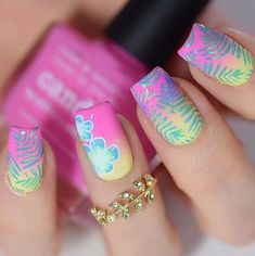 Hot pink nails tropical nails square nails elegant nails by rose in. Nail Art Designs, Beach Nail Designs, Nail Polish Designs, Beach Nail Art, Nails Design, Summer Nail Designs, Polish Nails, Cute Summer Nails, Cute Nails