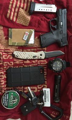 My EDC... -M&P Shield 9mm -1 spare mag  -Recycled Firefighter Wallet -Gerber Propel Downrange AO  -G Shock Mud Master/black band  -IPhone 6 120GB Magpul Case  -5.11 ATAC A1 Flashlight  -Black Petzl Carabiner  -Keys, Handcuff Key,Gerber Shard  -Grizzly Tin