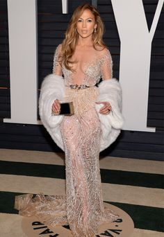 Jennifer Lopez In Zuhair Murad Couture at the 2015 Vanity Fair Oscar Party - Fashionsizzle Jennifer Lopez, Jennifer Aniston, Jlo Vestidos, Elie Saab, Irina Shayk Dress, Robes Glamour, Party Mode, See Through Dress, Festa Party