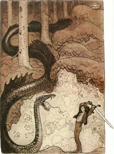 He Gave the Dragon a Mighty Blow - by Swedish artist John Bauer. Illustration from *Bland tomtar och troll* (Among Gnomes and Trolls), Swedish folklore and fairy tales. John Bauer, Art And Illustration, Botanical Illustration, Fairy Tale Illustrations, Dark Fantasy, Fantasy Art, Edmund Dulac, Fairytale Art, Art Graphique