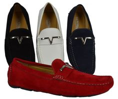 Mens Giovanni Loafer Dress Shoes Italian Style Casual Slip On White Red Blue M788-40 10.5, White