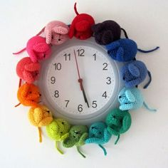 "Free pattern for ""Rainbow Mouse Clock""...this make me smile!."