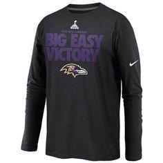 Nike Baltimore Ravens Super Bowl XLVII Champions Big Easy Victory Long Sleeve T-Shirt - Black