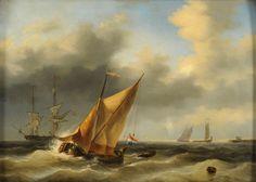 Gruyter, Willem 1817 Amsterdam - 1880 Amsterdam Ausfahrt zum Fang. Signiert. Öl/Mahagoni, 44 x 61 — Gemälde